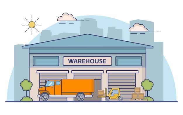 Lagern sie das gebäude zur lagerung. die lkw- und lader-gabelstaplerkästen. laden von gütern in eine karosserie. das fahrzeug mit rädern auf lieferwaren. Premium Vektoren