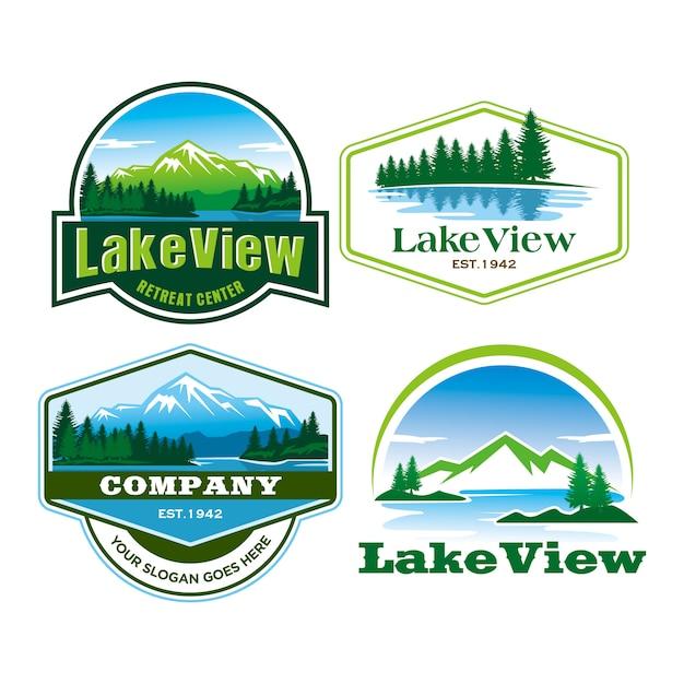 Lake view logo Premium Vektoren