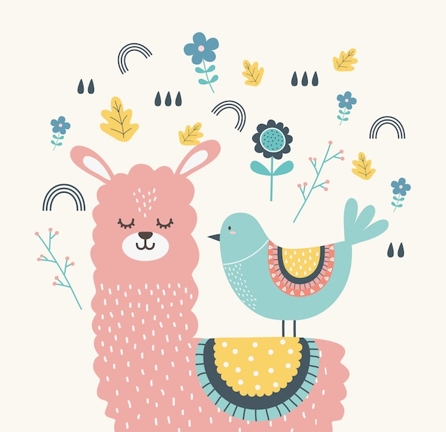 Lama und vogel cartoon Premium Vektoren