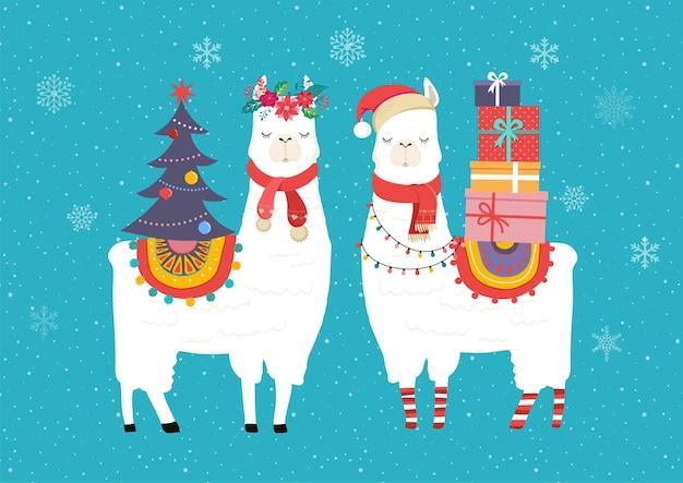 Lama winter, niedlich für kinderzimmer, plakat, frohe weihnachten, geburtstagsgrußkarte Premium Vektoren