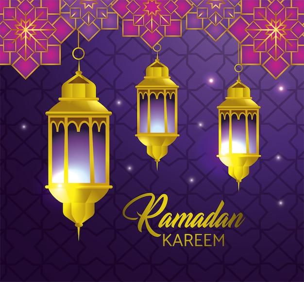 Lampen, die mit geometrischen blumen zum religionsfestival hängen Kostenlosen Vektoren
