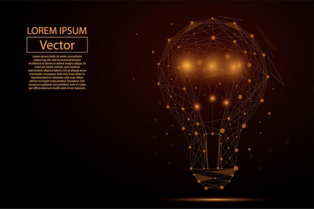 Lampenkolben bestehend aus punkten Premium Vektoren