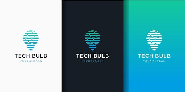 Lampentechnologie, ikone der elektrischen lichttechnologie und visitenkartenentwurf Premium Vektoren