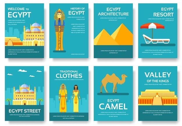 Land ägypten reise urlaubsführer von waren Premium Vektoren