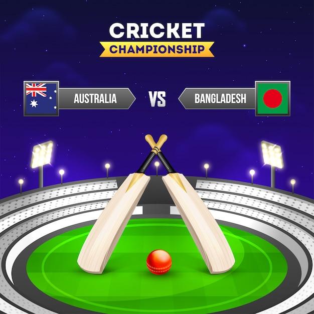 Land des cricket-turniers Premium Vektoren