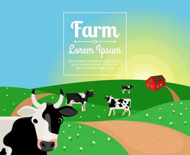 Land- oder bauernhoflandschaft mit kühen und dorfhaus Premium Vektoren
