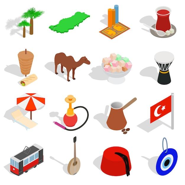 Land-türkei-ikonen stellten in die isometrische art 3d ein, die auf weißem hintergrund lokalisiert wurde Premium Vektoren