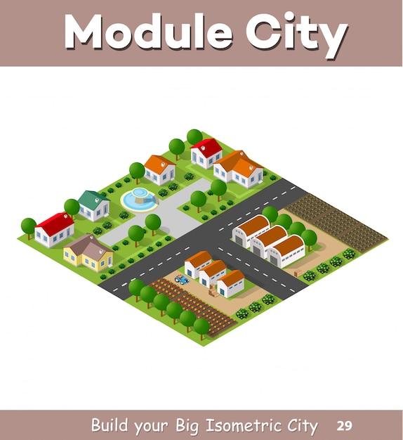 Landdorf von reihenhäusern und landhäusern mit straßen Premium Vektoren