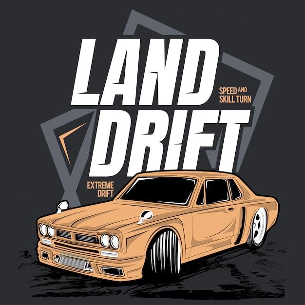 Landdrift, illustration eines oldtimers Premium Vektoren