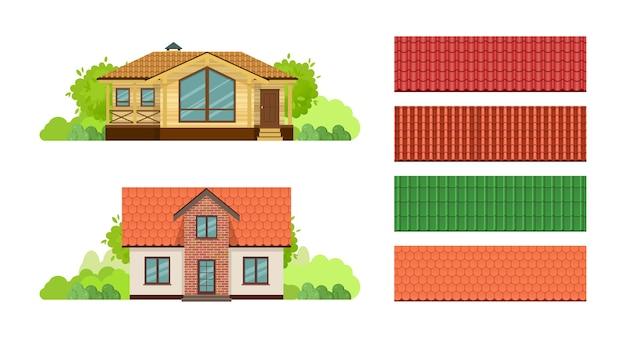 Landhäuser, ferienhaus mit dachziegel Premium Vektoren