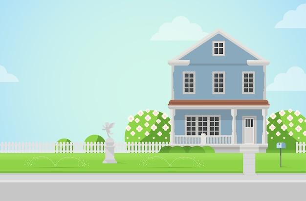 Landhaus mit amorstatue auf rasenkonzept architekturelemente bauen sie ihre weltsammlung auf Kostenlosen Vektoren