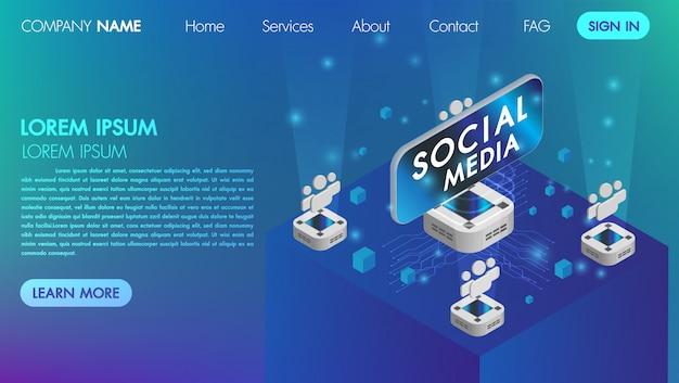 Landin-seite. mocksite social media-kommunikationskonzept der virtuellen realität mit isometrischer vektorillustration der technologie Premium Vektoren