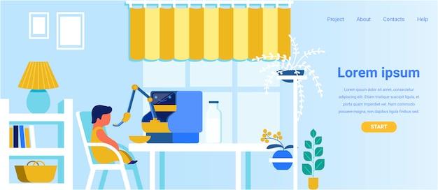 Landing page advertising moderner roboterbabysitter Premium Vektoren