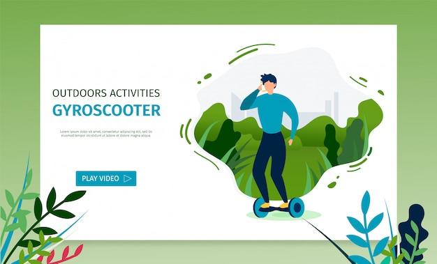 Landing page bietet video für das reiten von gyroscooter Premium Vektoren