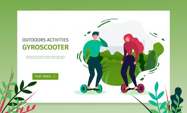 Landing page bietet zeit für gyroscooter Premium Vektoren