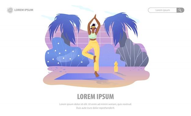 Landing page, das zu hause den garten der meditation fördert Premium Vektoren