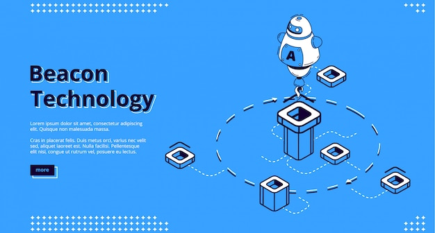 Landing page der beacon-technologie mit roboter Kostenlosen Vektoren