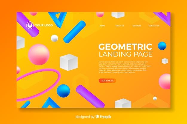 Landing page der geometrischen formen 3d Kostenlosen Vektoren