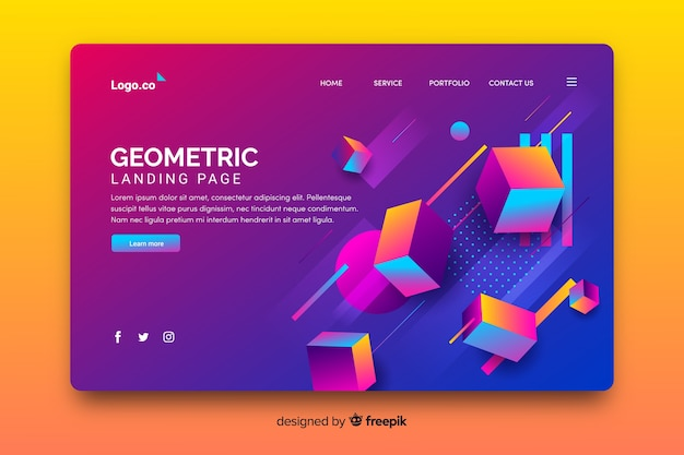 Landing page der geometrischen stücke 3d Kostenlosen Vektoren