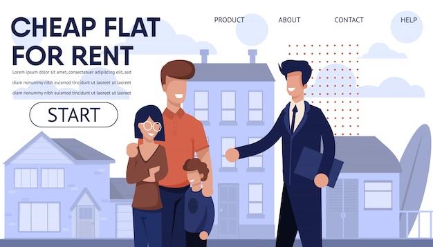 Landing page der immobilienagentur mit den besten angeboten Premium Vektoren