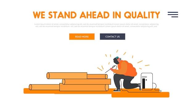 Landing page der website für die metallurgieverarbeitung. Premium Vektoren