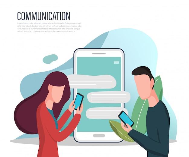 Landing page des sozialen netzwerks und chat mit personen. Premium Vektoren