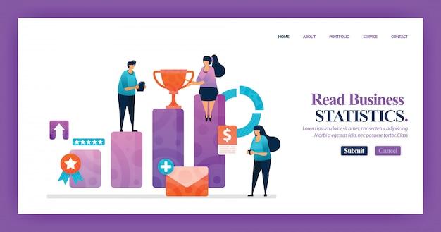 Landing page design der unternehmensstatistik Premium Vektoren