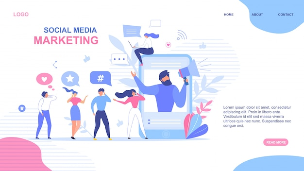 Landing page design für social media marketing Premium Vektoren