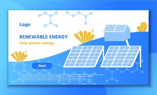 Landing page förderung erneuerbarer solarenergie Premium Vektoren