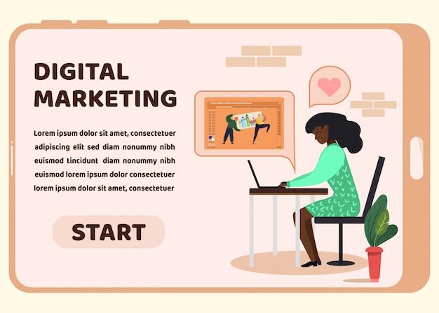 Landing page für digitales marketing auf dem telefonbildschirm Premium Vektoren