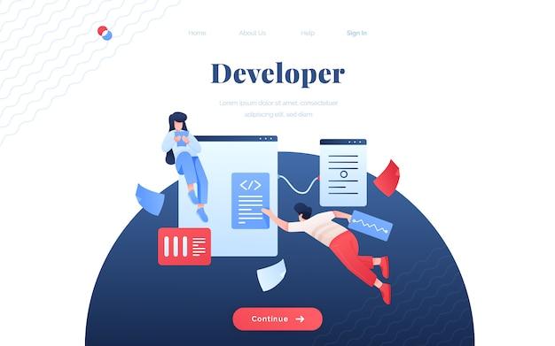 Landing page für entwickler Premium Vektoren