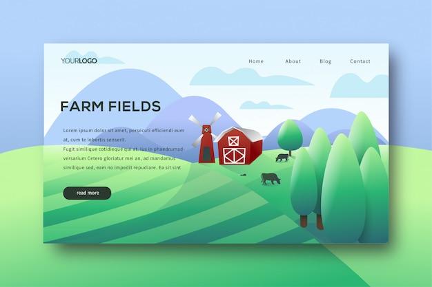 Landing page für farmfelder Premium Vektoren