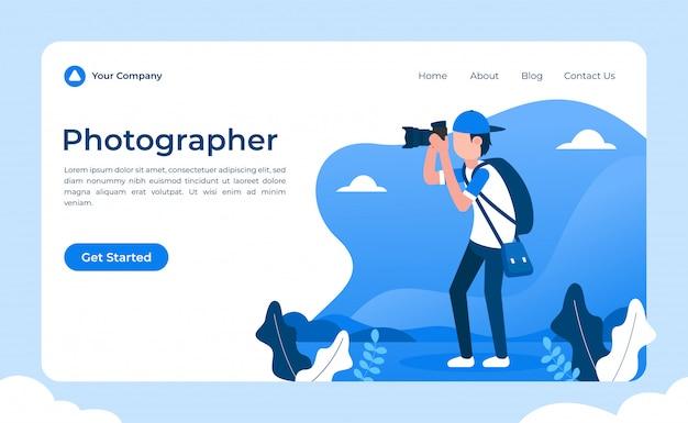 Landing page für fotografen Premium Vektoren