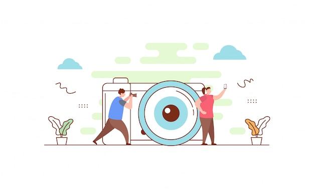 Landing page für kamera und fotografie Premium Vektoren