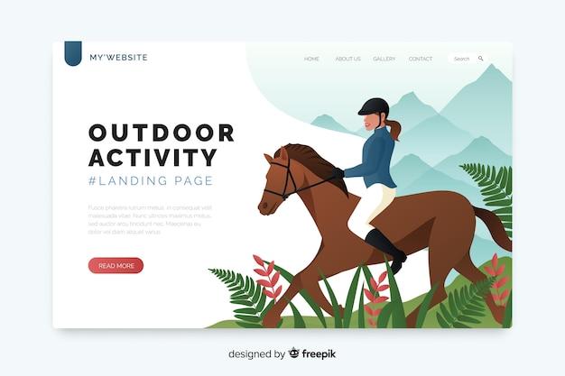 Landing page für outdoor-aktivitäten-vorlage Kostenlosen Vektoren