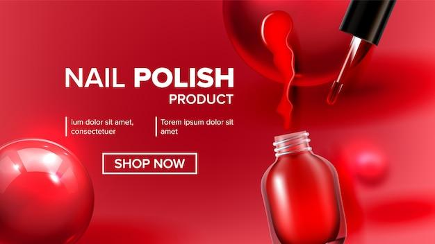 Landing page für rote nagellackproduktfläschchen Premium Vektoren