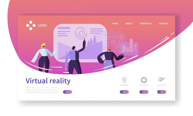 Landing page für virtuelle realität. augmented reality banner mit website-vorlage für flache personen. einfach zu bearbeiten und anzupassen. Premium Vektoren