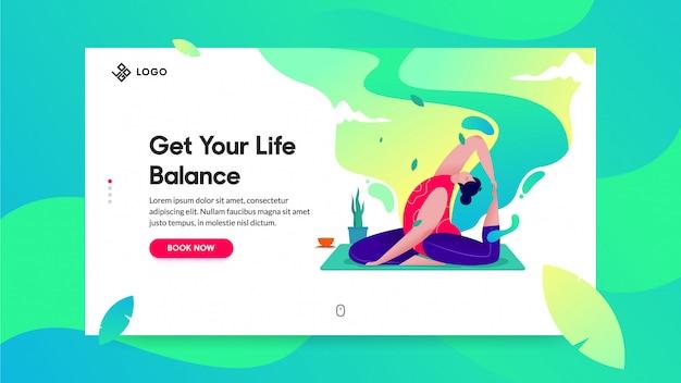 Landing page für yoga klasse Premium Vektoren