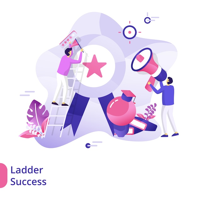 Landing page ladder success-illustrationskonzept Premium Vektoren