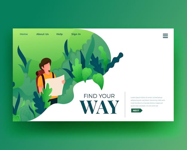 Landing page landing page von character walk at forest Premium Vektoren