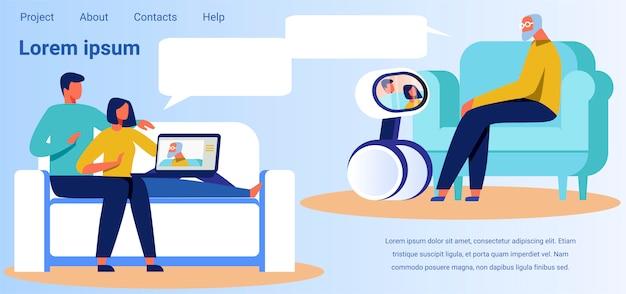 Landing page macht werbung für technologie für videoanrufe Premium Vektoren