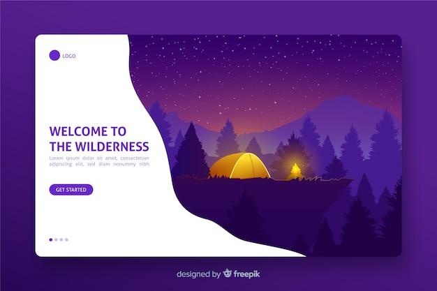 Landing page mit begrüßung zum thema wildnis Kostenlosen Vektoren