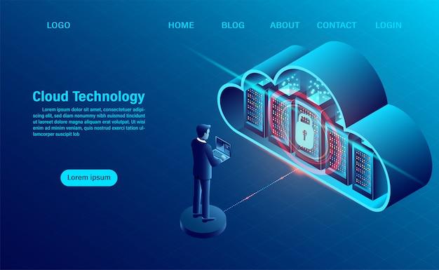 Landing page mit cloud-computing-konzept. datensicherheitskonzept. online-computertechnologie. großes datenfluss-verarbeitungskonzept, server 3d und datencenter. Premium Vektoren