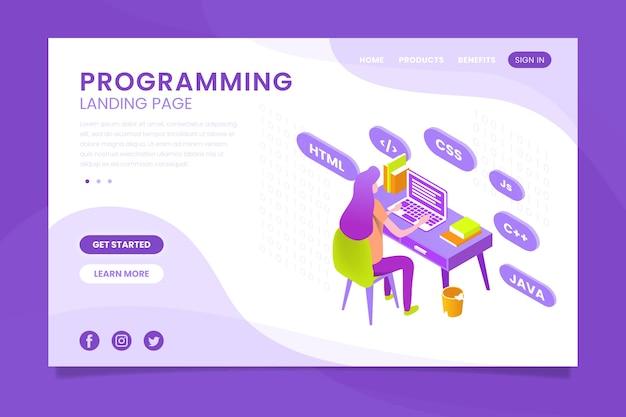 Landing page mit codierung programmieren Kostenlosen Vektoren