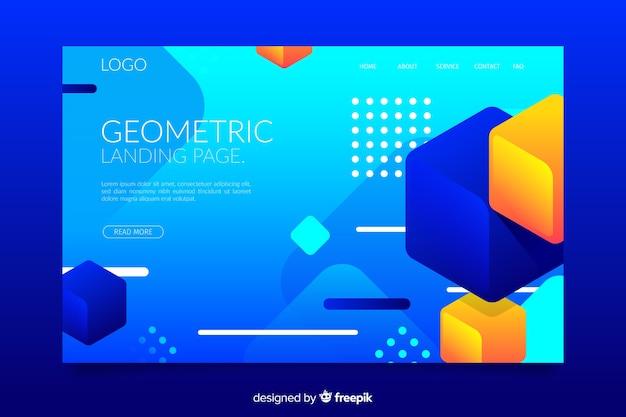 Landing page mit geometrischen verlaufsformen im memphis-stil Kostenlosen Vektoren