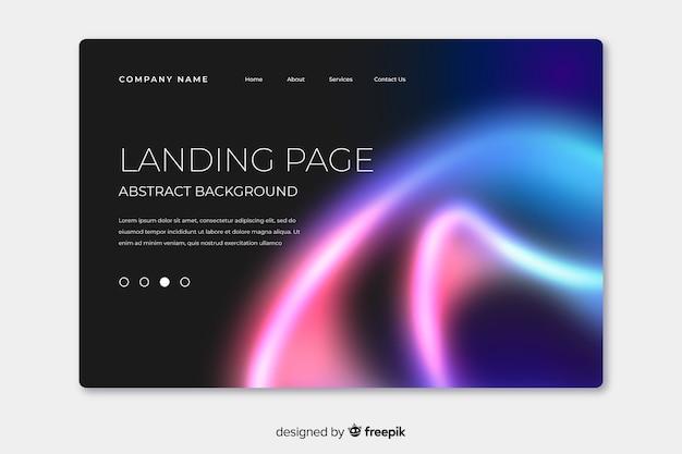 Landing page mit nordlichtern an der ecke Kostenlosen Vektoren