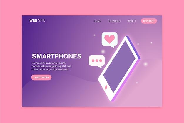 Landing page mit smartphone in zwei farben Kostenlosen Vektoren