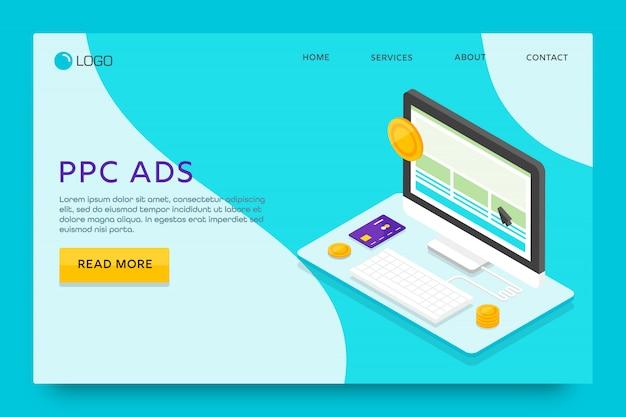 Landing page oder web template design. ppc-werbung Premium Vektoren