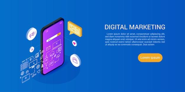Landing page oder web template für seo oder suchmaschinenoptimierung und digital media marketing Premium Vektoren