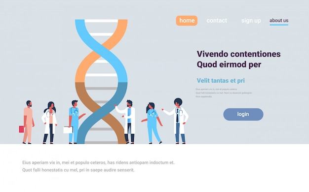 Landing page oder web template über dna-genanalyse Premium Vektoren